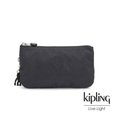 Kipling 都會簡約霧灰色三夾層配件包-CREATIVITY L