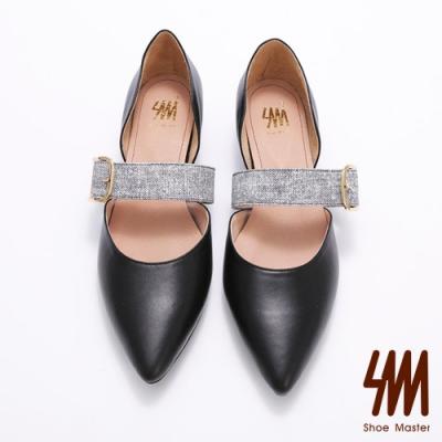 SM-尖頭中空皮帶扣環低跟鞋