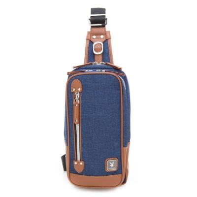 PLAYBOY- 單肩背包 BLUE MAN系列-學院藍