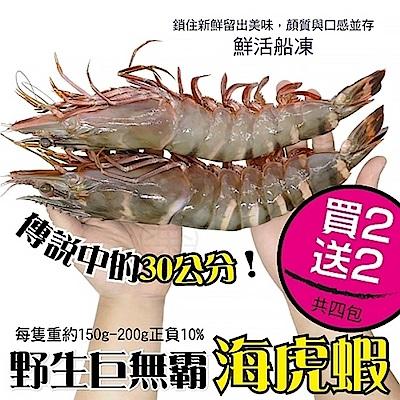 (買2送2)【海陸管家】巨無霸比臉大海虎蝦(每隻150g-200g) 共4隻
