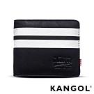 福利品 KANGOL 韓式潮流橫式短皮夾+鑰匙圈禮盒-條紋黑