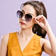 ALEGANT韓潮街拍時尚墨羽藍金框幾何造型墨鏡│UV400太陽眼鏡│韶光的神燈幻影 product thumbnail 1