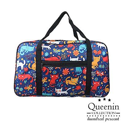 DF Queenin - 出國馬上走!超輕超大容量旅行袋可掛行李桿-貓咪蝴蝶
