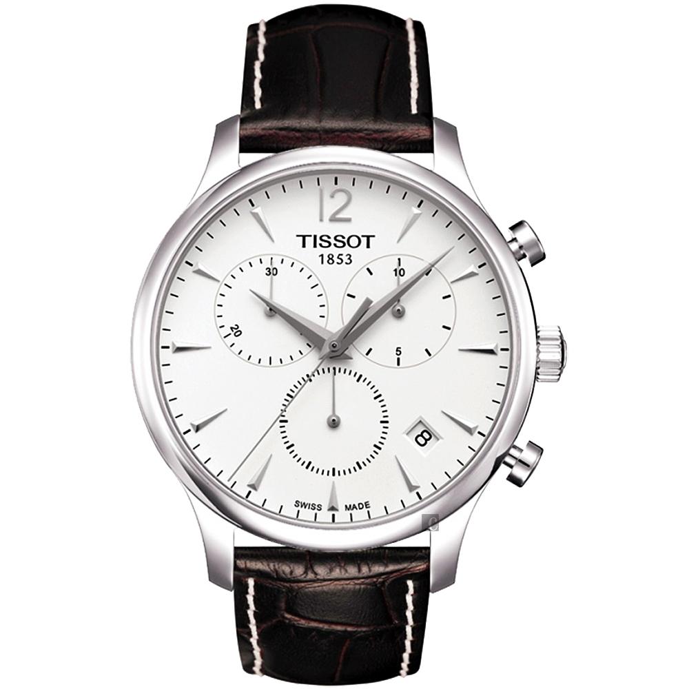 TISSOT 天梭 T-TRADITION 極簡風計時腕錶-白/42mm