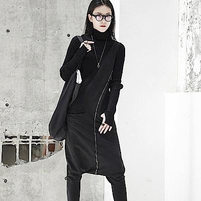 秋裝暗黑風顯瘦單邊背帶休閒連身褲K-525-設計所在