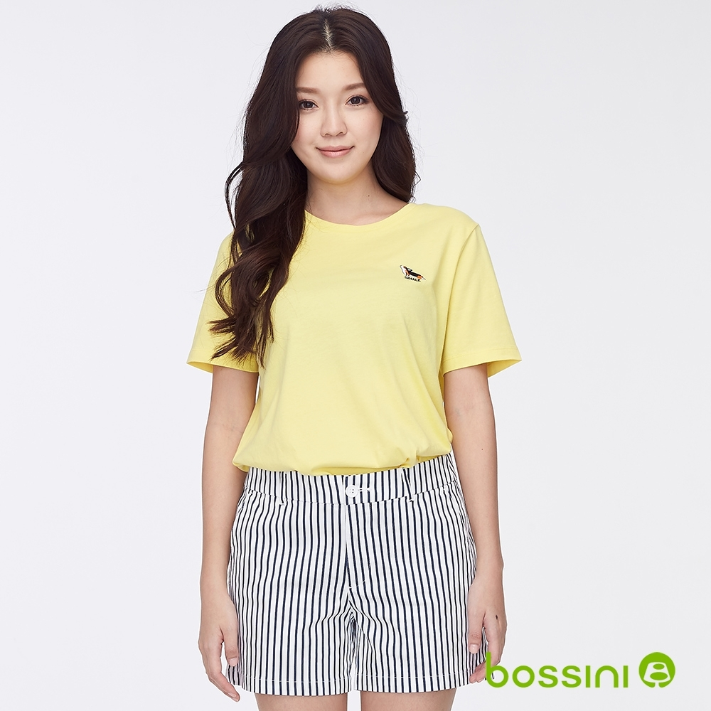 bossini女裝-圓領短袖繡花上衣淺黃