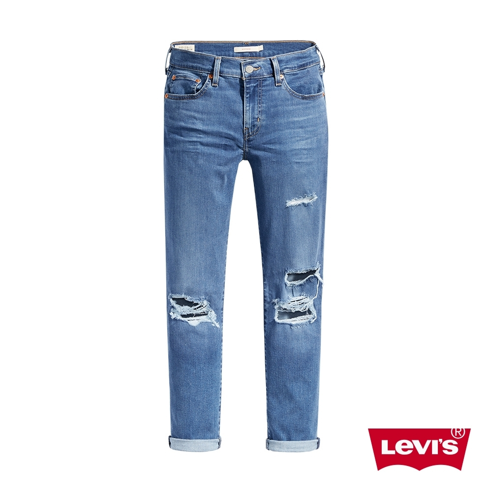 Levis 男友褲 中腰寬鬆版牛仔褲 抓鬚大破壞 天絲棉 彈性布料