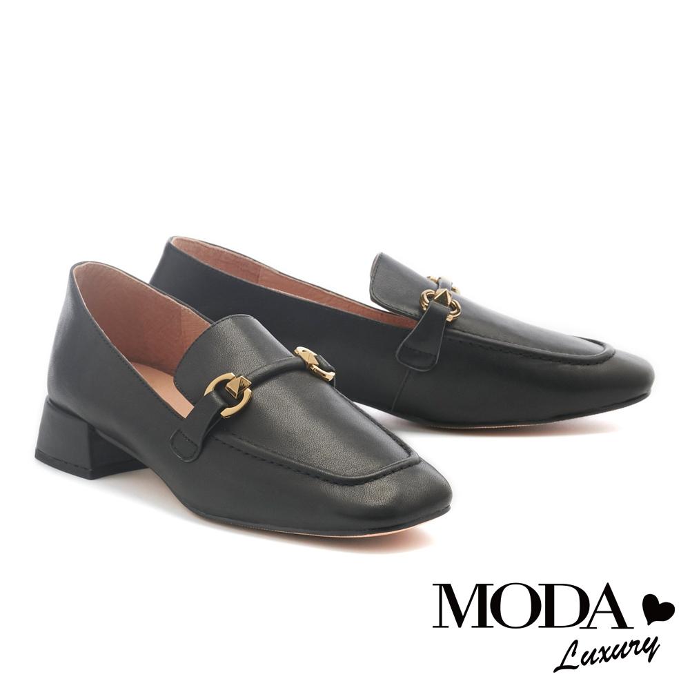 低跟鞋 MODA Luxury 韓系質感造型鼓帶牛皮樂福低跟鞋-黑