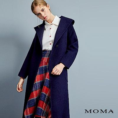 MOMA 雙面毛料綁帶連帽大衣