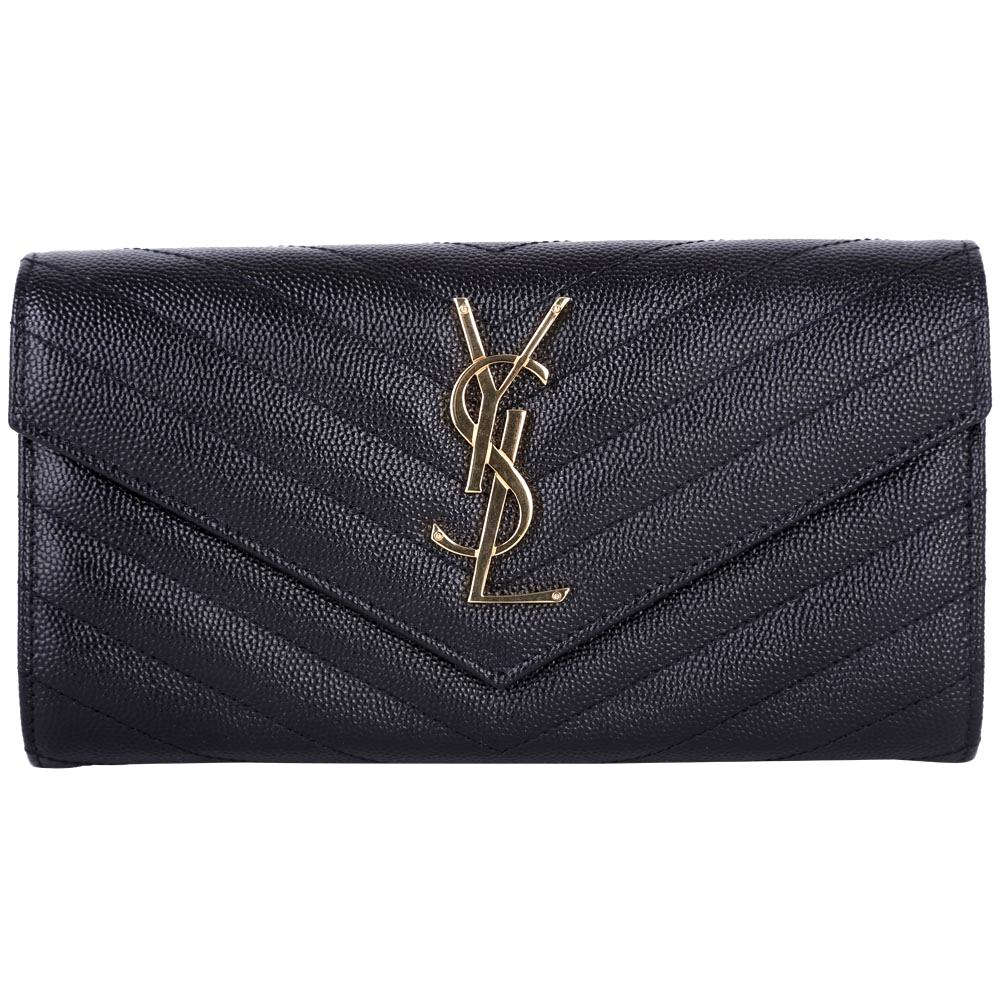 YSL Saint Laurent MONOGRAM 斜壓荔枝皮紋手拿包/長夾(黑色)