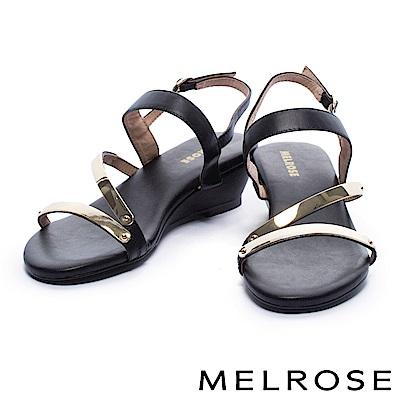 涼鞋 MELROSE 時尚金屬質感層次繞帶牛皮楔型涼鞋-黑
