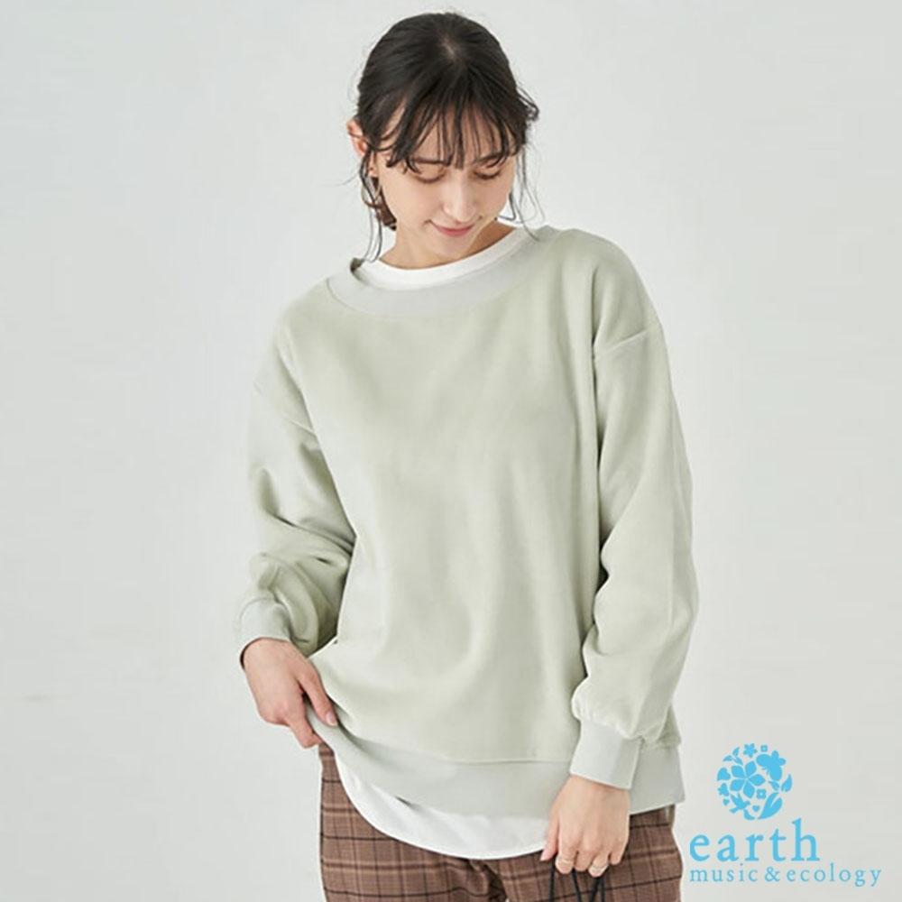 earth music 素面燈芯絨圓領長袖T恤