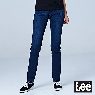 Lee 409中腰合身窄管牛仔褲/RG-深藍色