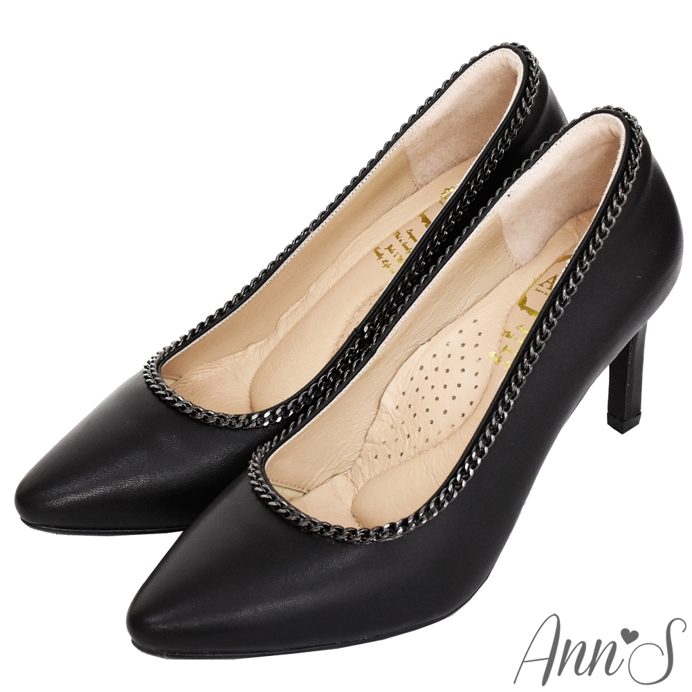 Ann'S性感尤物-小羊皮槍色鍊帶尖頭細跟鞋-黑