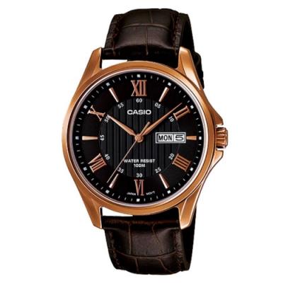 CASIO  時尚混搭羅馬玫瑰金字皮帶錶-黑(MTP-1384L-1A)47mm