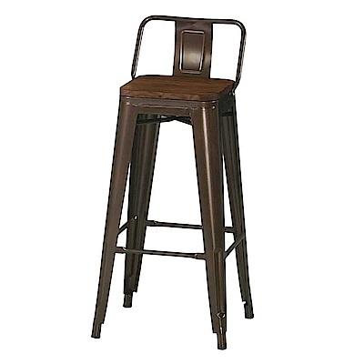 Boden-凱多工業風實木面吧台椅/高腳椅-42x42x93cm
