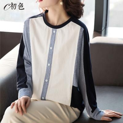 初色  拼接圓領寬版襯衫-白色-(L-2XL可選)