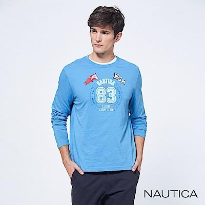 Nautica雙旗幟休閒長袖TEE-藍色