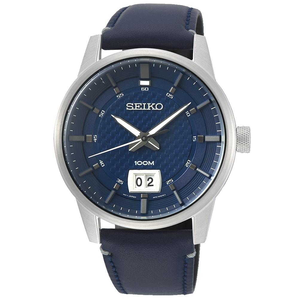 SEIKO精工   紳士密令編織紋石英男錶(SUR287P1)-藍x41mm