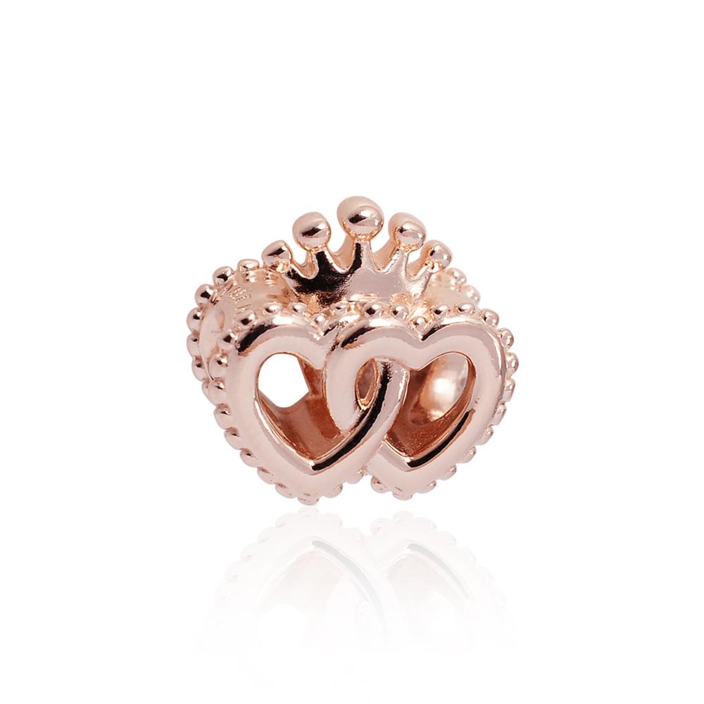 Pandora 潘朵拉 魅力皇冠雙心玫瑰金 純銀墜飾 串珠