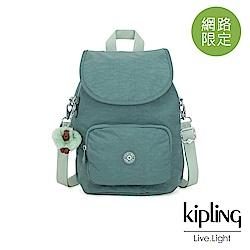 Kipling 溫柔森林綠拉鍊後背包-CARAF