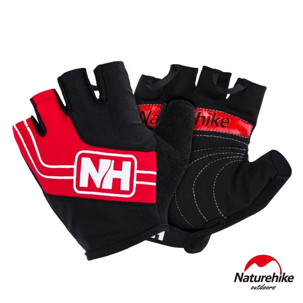 Naturehike 脫環加厚耐磨戶外運動騎行半指手套 紅色