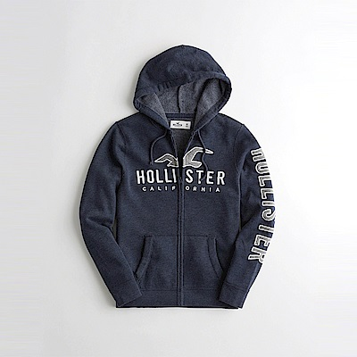 HCO Hollister 海鷗 經典刺繡大海鷗文字連帽外套-深藍色