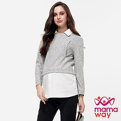 mamaway媽媽餵 襯衫領假兩件長版孕哺上衣