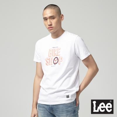 Lee短袖T恤 創意輪胎文字圖設計-白-男