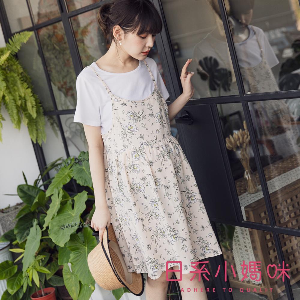 日系小媽咪孕婦裝-哺乳衣~假二件粉嫩春漾花朵印圖洋裝