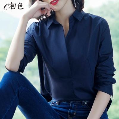初色  純棉造型襯衫-共2色-(M-2XL可選)