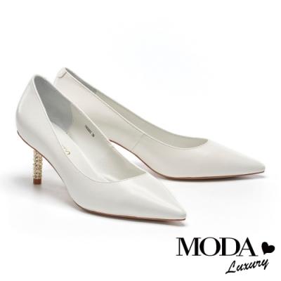高跟鞋 MODA Luxury 極簡約雅緻羊皮尖頭造型高跟鞋-白