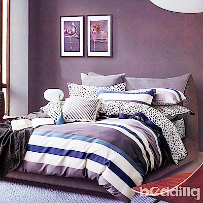 BEDDING-專櫃純棉6尺加大雙人薄式床包涼被四件組-樂享一族-藍