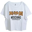 MOSCHINO 三隻TOY小熊字母LOGO圖騰100%棉質短版寬T恤(白/L)