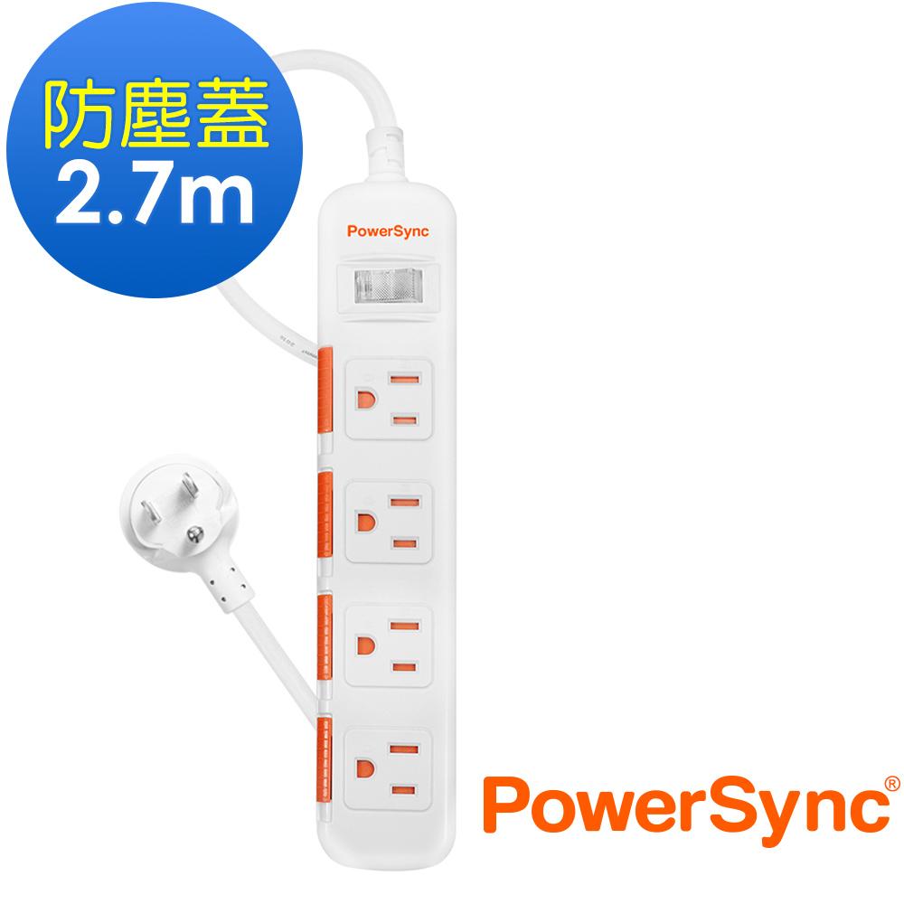 群加 PowerSync  一開四插防塵防雷擊延長線/2.7m(TPS314DN9027)