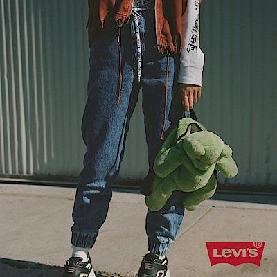 Levis 女 501 Joggers 運動丹寧排釦縮口褲 經典直筒版型 抽繩 淺藍水洗