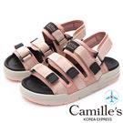 Camille's 韓國空運-織帶魔鬼氈運動休閒厚底涼鞋-粉色