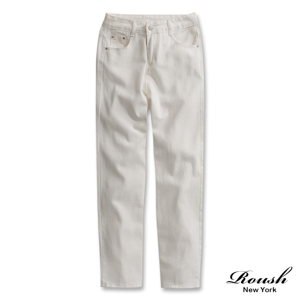 Roush 女生寬版甜美純色牛仔褲(2色)