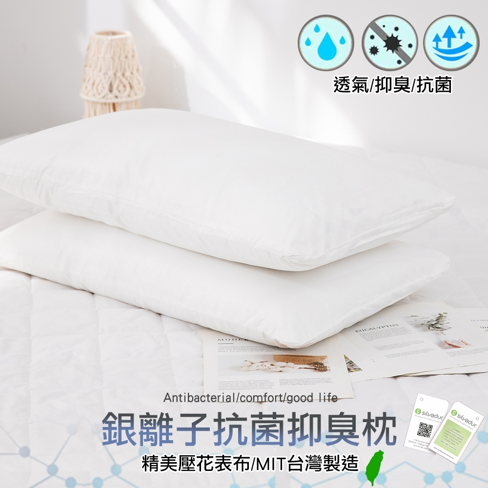 eyah 宜雅 台灣製銀離子抑菌除臭纖維枕 2入