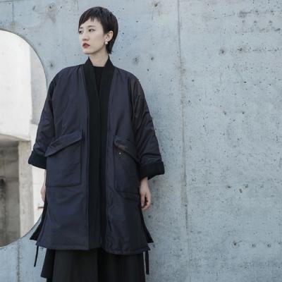 設計所在Style-綁帶睡衣風格加厚中長寬鬆大棉衣外套
