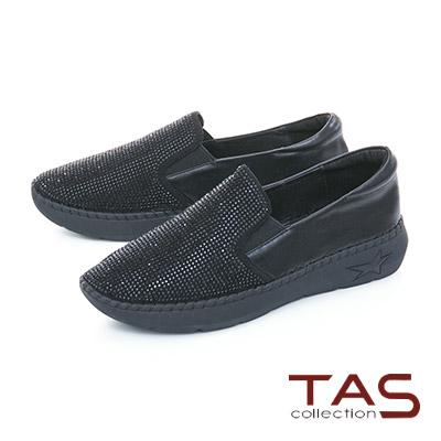TAS滿版水鑽拼接牛皮縫線休閒鞋-閃耀黑