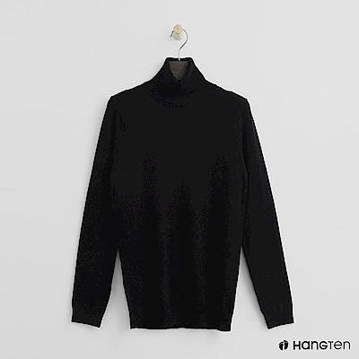 Hang Ten - 女裝 - 質感高領針織上衣-黑