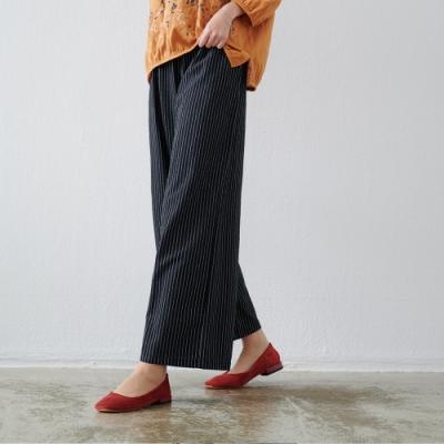 慢 生活 造型口袋條紋棉麻感寬褲- 黑色