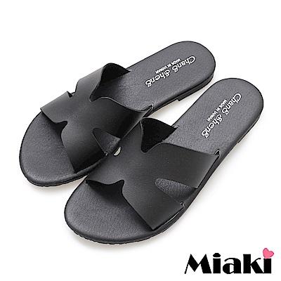 Miaki-韓版穿搭平底拖鞋-黑色