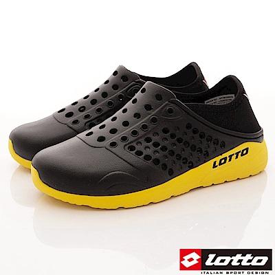Lotto樂得-潮流洞洞鞋-SI750黑(男段)