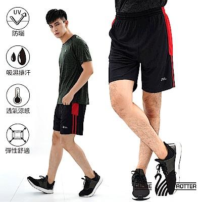 【遊遍天下】MIT男款吸濕排汗休閒運動短褲P0001黑紅