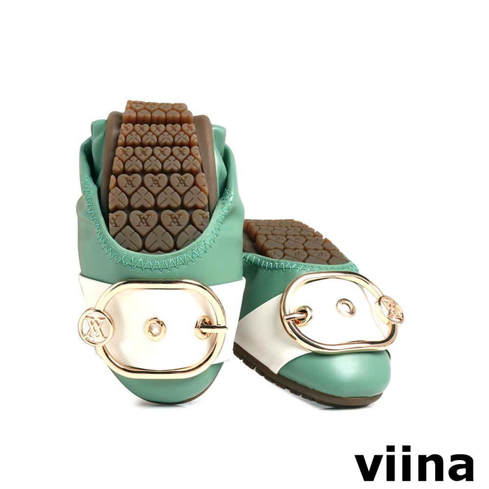 viina 皮帶釦撞色摺疊鞋MIT-淺綠