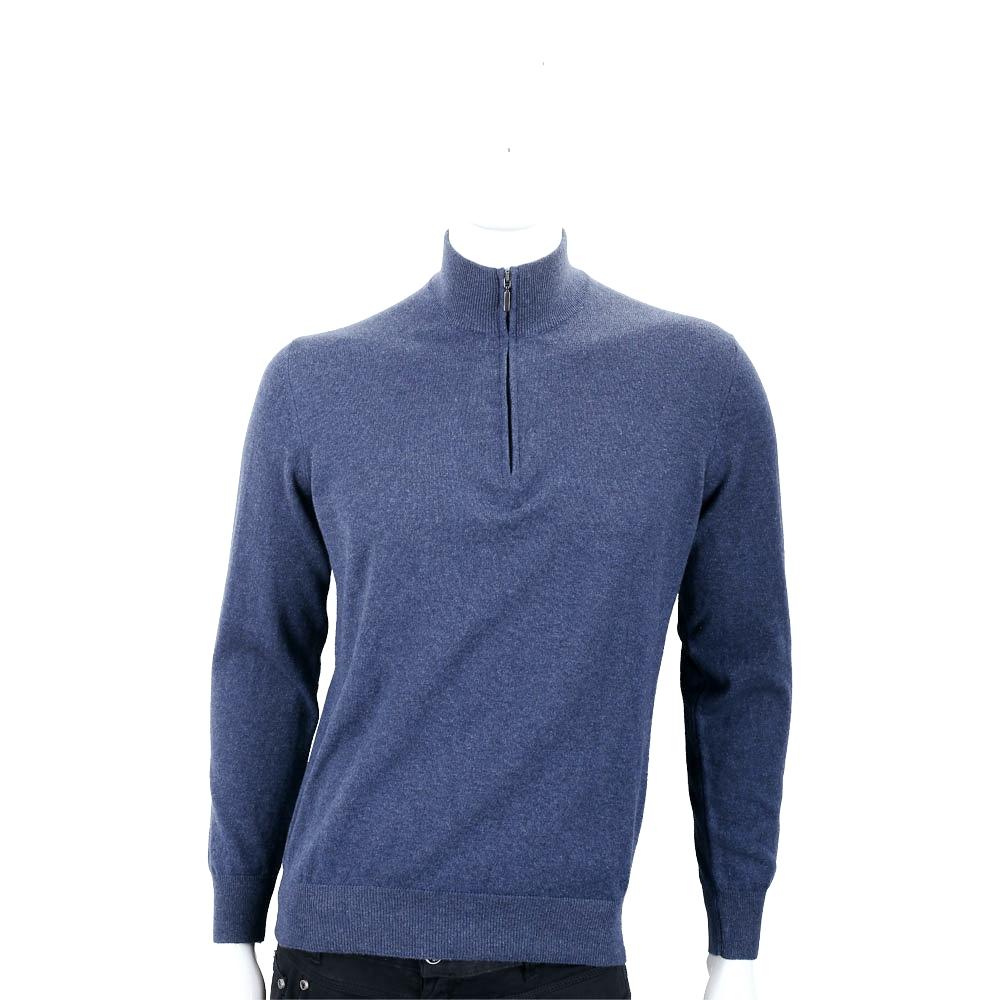 Andre Maurice 喀什米爾暗礦藍拉鍊羊毛衫(男款) @ Y!購物