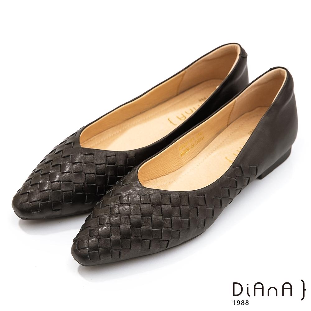 DIANA 1.7公分 莫蘭迪色調水染羊皮編織鞋面方尖頭跟鞋-細膩淑女 –蜜黑糖