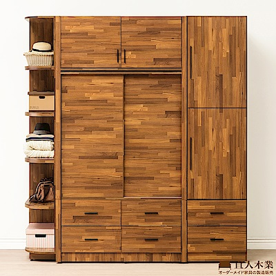 日本直人木業-STYLE積層木四尺滑門加二抽開門加邊櫃210CM被櫥高衣櫃